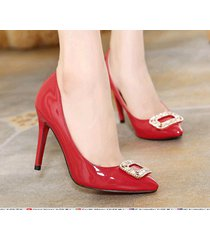pp415 sweet pointy pump w rhinestones sequare top, us size 5-11, red
