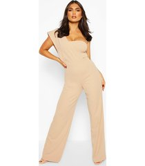 one shoulder wide leg jumpsuit, sand