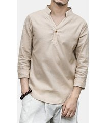 magliette casuali allentate di colore solido del collare del basamento di stile cinese della caduta degli uomini