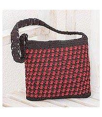 crocheted shoulder bag, 'zigzag textures in crimson' (guatemala)