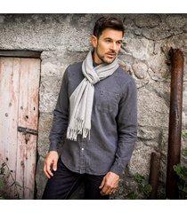 men's herringbone lambswool scarf gray one size