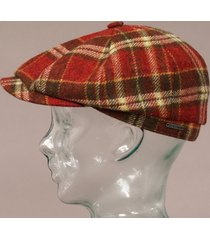stetson wool hatteras flat cap - multi check 6840304-289