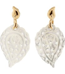carved india leaf mother of pearl earrings