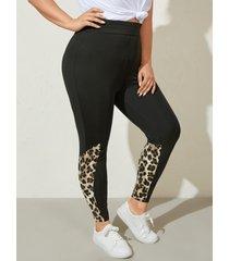 yoins basics plus talla leopardo patchwork pantalones