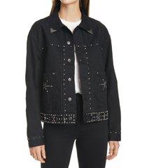 women's polo ralph lauren studded trucker jacket, size x-small - black