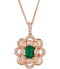 """le vian costa smeralda emerald (5/8 ct. t.w.) & nude diamond (3/8 ct. t.w.) 20"""" pendant necklace in 14k rose gold"""