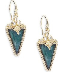 old world diamond, sapphire, malachite, rainbow moonstone, 18k yellow gold & sterling silver earrings