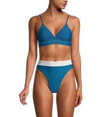 pq women's kylie bikini top - island blue - size l