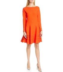 women's lela rose lattice trim long sleeve fit & flare sweater dress, size x-small - red