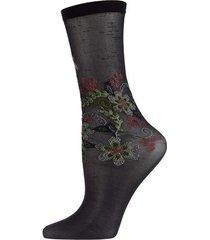 natori cyprus floral crew socks, women's, black natori