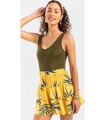 dorinda tiered palm leaf mini skirt - multi