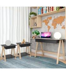 escrivaninha cavalete e conjunto mesa lateral natural preto casah - preto - dafiti