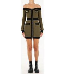 balmain green off shoulder dress