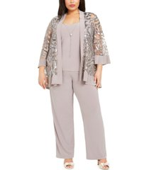 r & m richards plus size 2-pc. sequined jacket top & straight-leg pants