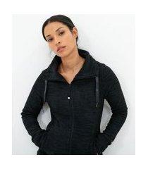 jaqueta esportiva polar fleece com bolsos e gola | get over | cinza | p