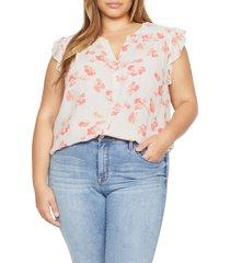 plus size women's sanctuary firefly floral blouse, size 2x - white
