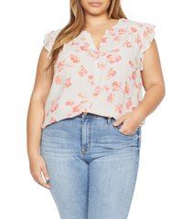 plus size women's sanctuary firefly floral blouse, size 2x - white