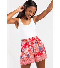melinda floral paperbag shorts - red
