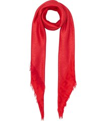 burberry large metallic-monogram square scarf - red