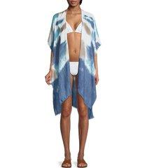 lulla collection by bindya women's tie-dye kimono coverup - blue white combo
