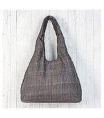 cotton shoulder bag, 'thai texture in taupe' (thailand)