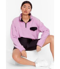 womens pocket outta the park relaxed contrast sweatshirt - purple