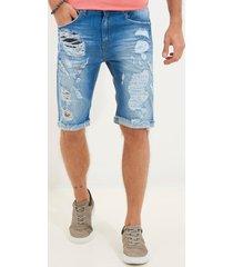 bermuda john john clássica colorado 3d jeans azul masculina (jeans medio, 50)