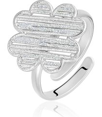 anello quadrifoglio in ottone rodiato e glitter per donna