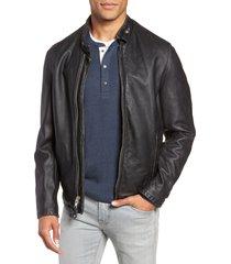 men's schott nyc cafe racer hand vintaged cowhide leather jacket, size x-large - black