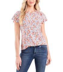 cece flutter-sleeve ditsy blouse