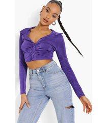 korte geplooide blouse, neon purple