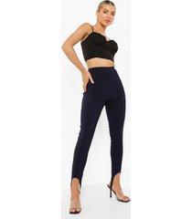 geweven skinny fit broek met naaddetail en voetbandjes, navy