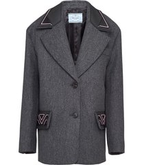 prada rubberised logo single-breasted coat - grey