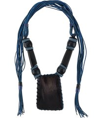 a.n.g.e.l.o. vintage cult 2000s braided beaded necklace - blue
