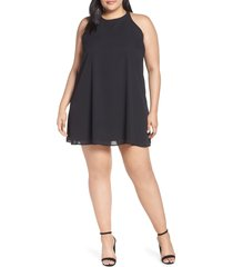 plus size women's gibson x hi sugarplum! naples swing halter dress, size 3x - black (plus size) (nordstrom exclusive)