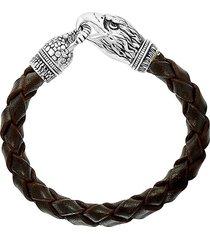 effy men's sterling silver, brown spinel & leather bracelet