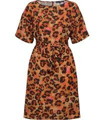 bernadia crepe bltd prntd drss jurk knielengte oranje french connection