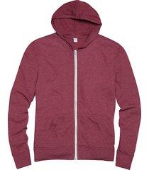 alternative apparel men's burgundy red modern fit full zip eco jersey hoodie - size: large