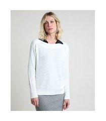 suéter feminino em tricô decote canoa off white