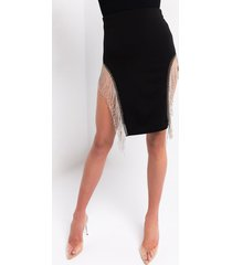 akira watch me shimmer rhinestone fringe stretch skirt