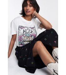 alix the label 2107892046 ladies knitted acid washed tiger t-shirt