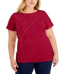 karen scott plus size cotton studded slit-sleeve top, created for macy's
