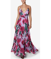laundry by shelli segal floral-print chiffon pleated gown