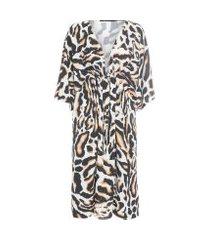 vestido kaftan amarração - animal print