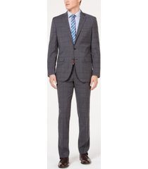kenneth cole new york men's slim-fit stretch travel ready performance windowpane suit