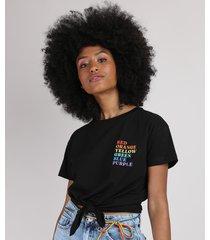 blusa feminina pride com nó manga curta e decote redondo preto