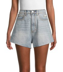 weworewhat women's high-rise denim shorts - light vintage - size 25 (2)
