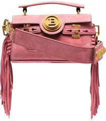 balmain bbuzz baguette fringed shoulder bag - pink