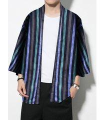hombres primavera verano estilo japonés retro harajuku cárdigan a rayas kimono suelto