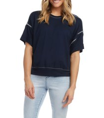 women's karen kane cuff short sleeve t-shirt, size medium - blue